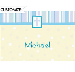 Cross with Patterns Blue Custom Thank You Note