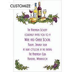 Wine and Cheese Custom Invitation