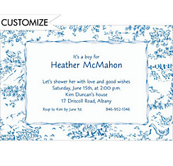 Blue Baby Toile Custom Baby Shower Invitation