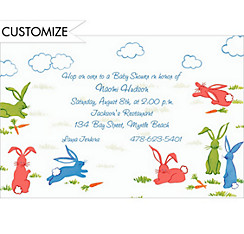 Frolicking Bunny Rabbits Custom Baby Shower Invitation