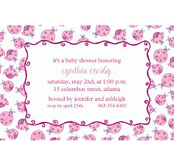 Pink Ladybugs Custom Baby Shower Invitation