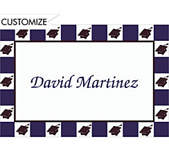 Mortarboard Checkerboard Custom Thank You Notes