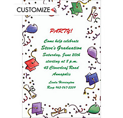 Graduation Caps and Balloons Custom Invitation