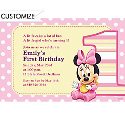 Minnie Mouse 1st Birthday Custom Invitation