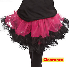 Girls Pink and Black Tulle Pettiskirt