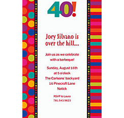 Birthday Dots & Stripes 40 Custom Invitation