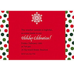 Holiday Dots & Stripes Custom Christmas Invitation