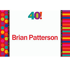 Birthday Dots & Stripes 40 Custom Thank You Note
