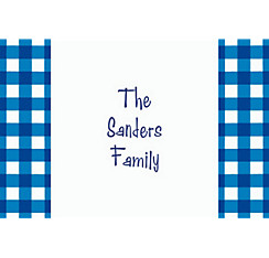 American Summer Blue Gingham Custom Thank You Note