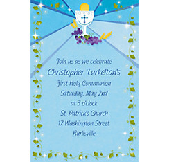 Blue First Communion Custom Invitation