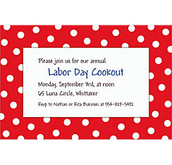 Red Patriotic Polka Dot Custom Invitation