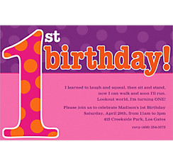 Big 1st Birthday Pink Custom Invitation