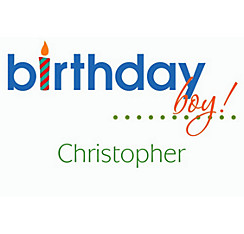 Birthday Boy Text Custom Thank You Note