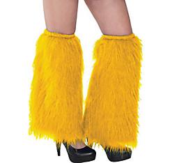 Yellow Furry Leg Warmers
