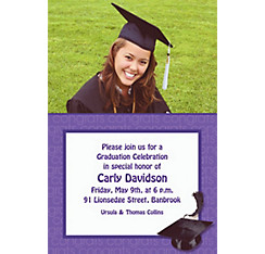 Custom Purple Congrats Grad Photo Invitations