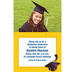 Yellow Congrats Grad Custom Photo Invitation
