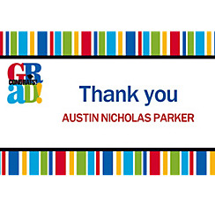 Custom Bravo Grad Stripe Graduation Thank You Notes