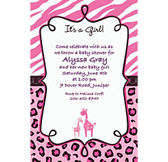 Pink Safari Custom Invitation