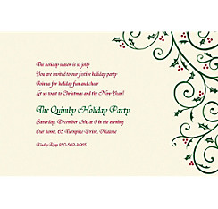 Delicate Holly Scroll Custom Christmas Invitation