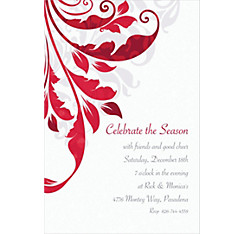 Decorative Scroll Custom Christmas Invitation