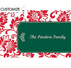 Red & Green Damask Border Custom Christmas Thank You Note