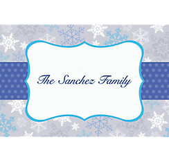 Stylish Snowflake Border Custom Christmas Thank You Note