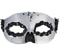 Glitter Silver Skull Masquerade Mask