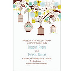 Lovebird Cages Custom Bridal Shower Invitation