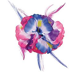 Pink & Blue Hibiscus Barrette Deluxe