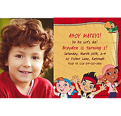 Jake and the Neverland Pirates Custom Photo Invitation