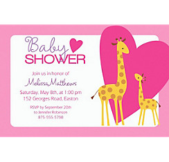 Sweet Giraffes and Heart Girl Custom Invitation