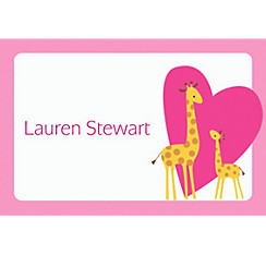Sweet Giraffes and Heart Girl Custom Thank You Note