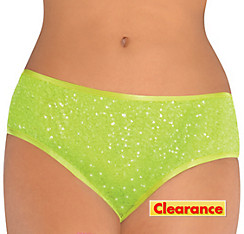 Electric Party Green Sequin Bikini-Cut Shorts