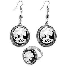 Black & Bone Earrings and Ring Set
