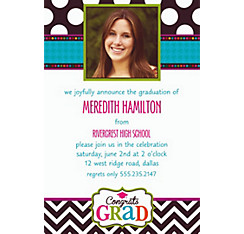 Bright Congrats Grad Custom Photo Invitation