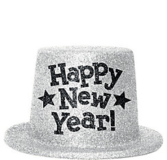 Silver Glitter New Year's Top Hat