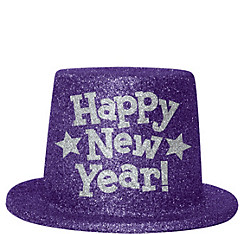 Purple Glitter New Year's Top Hat