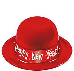 Red Happy New Year Derby Hat