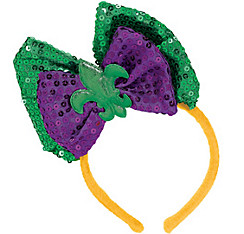 Sequined Mardi Gras Hair Bow