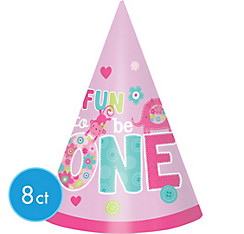 Wild at One Girl's 1st Birthday Party Hats 8ct