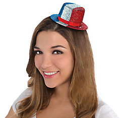 Glitter Patriotic Mini Top Hat