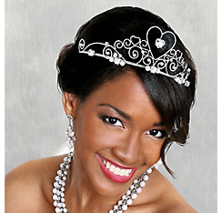 Gemstone Heart Silver Wedding Tiara