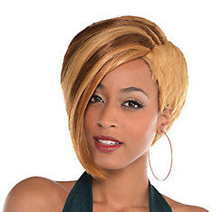 Highlighted Blonde Asymmetrical Bob Wig