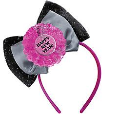 Pink & Black Happy New Year Bow Headband