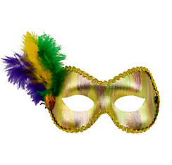 Feather Gold Mardi Gras Masquerade Mask