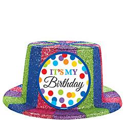 Glitter Rainbow Dot Birthday Top Hat