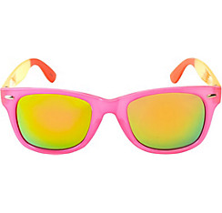 Pink Color Block Mirrored Sunglasses