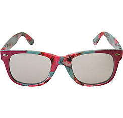 Pink & Teal Hibiscus Mirrored Sunglasses