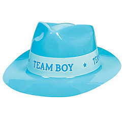 Team Boy Plastic Fedora - Girl or Boy Gender Reveal
