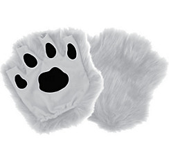White Paw Fingerless Gloves